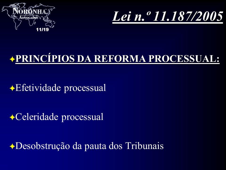 11/19 F PRINCÍPIOS DA REFORMA PROCESSUAL: F Efetividade processual F Celeridade processual F Desobstrução da pauta dos Tribunais Lei n.º 11.187/2005