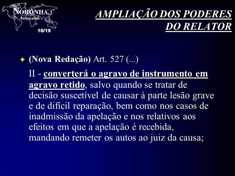 16/19 F (Nova Redação) Art. 527 (...) II - converterá o agravo de instrumento em agravo retido, salvo quando se tratar de decisão suscetível de causar