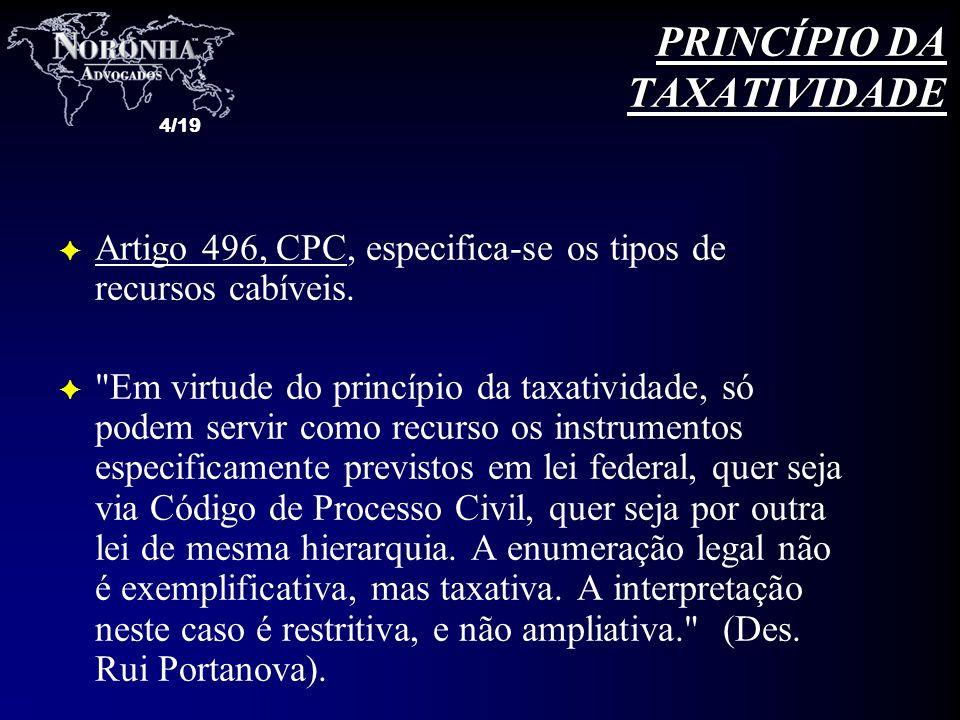 4/19 F Artigo 496, CPC, especifica-se os tipos de recursos cabíveis. F