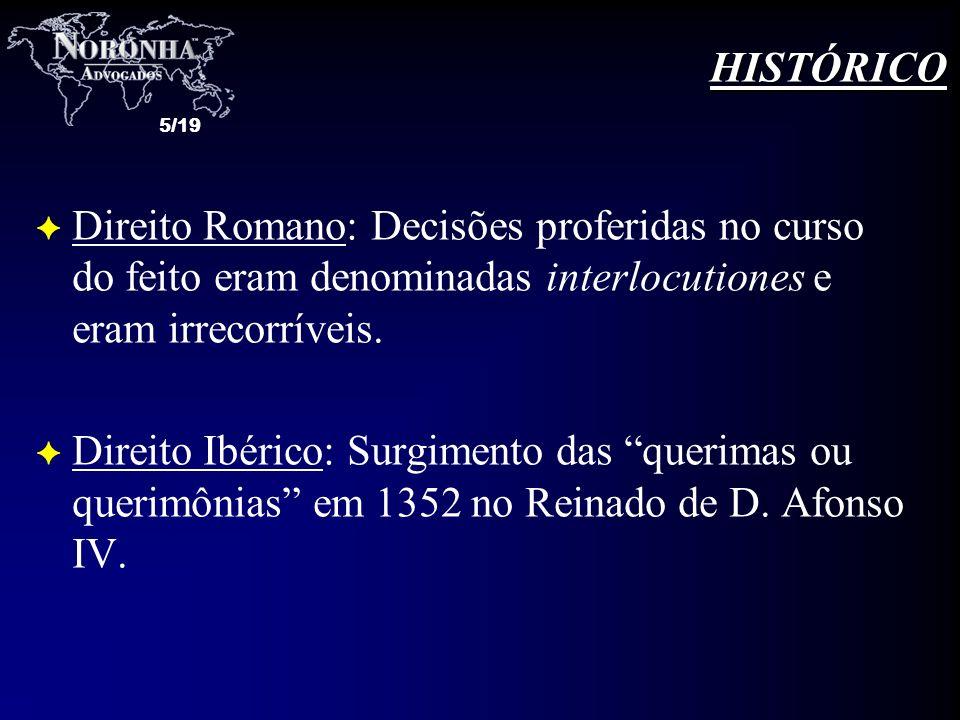 5/19 F Direito Romano: Decisões proferidas no curso do feito eram denominadas interlocutiones e eram irrecorríveis. F Direito Ibérico: Surgimento das