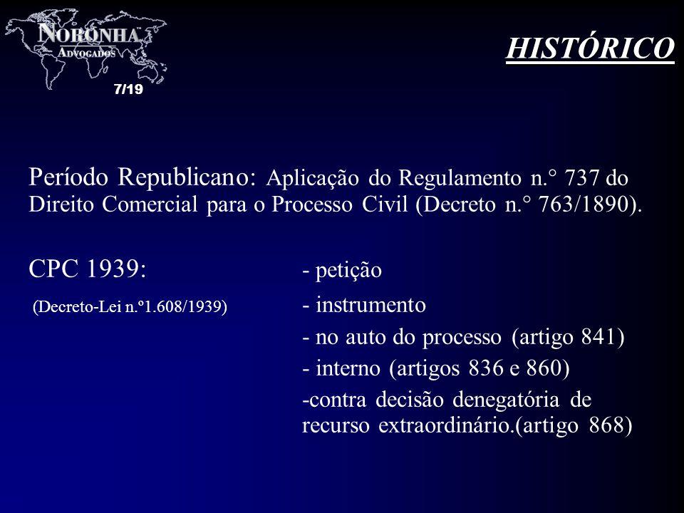 7/19 Período Republicano: Aplicação do Regulamento n.° 737 do Direito Comercial para o Processo Civil (Decreto n.° 763/1890). CPC 1939: - petição (Dec