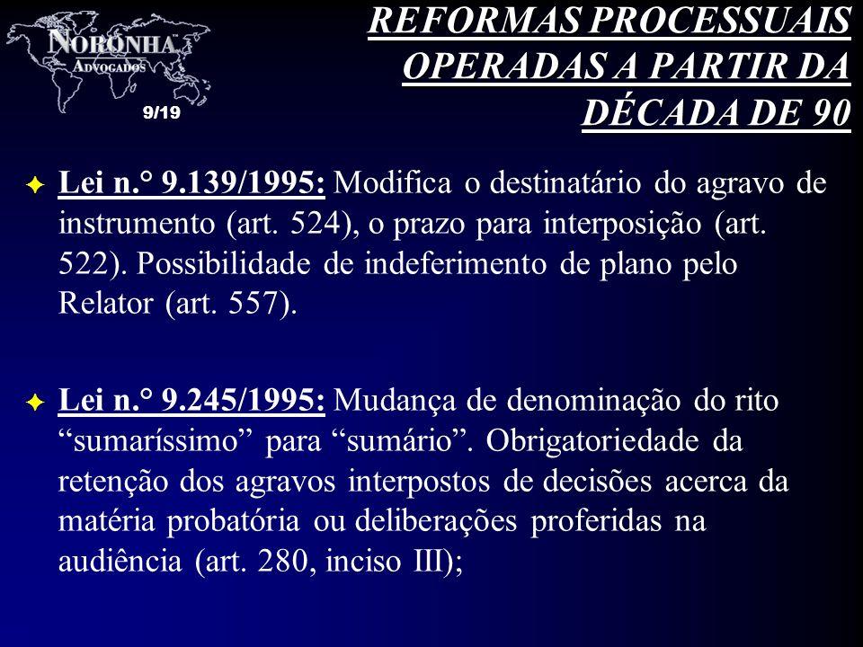 9/19 F Lei n.° 9.139/1995: Modifica o destinatário do agravo de instrumento (art. 524), o prazo para interposição (art. 522). Possibilidade de indefer