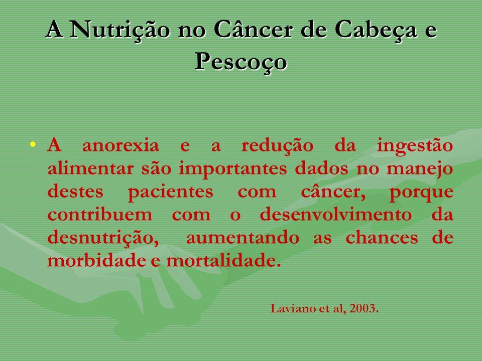 A Nutrição no Câncer de Cabeça e Pescoço A anorexia e a redução da ingestão alimentar são importantes dados no manejo destes pacientes com câncer, por