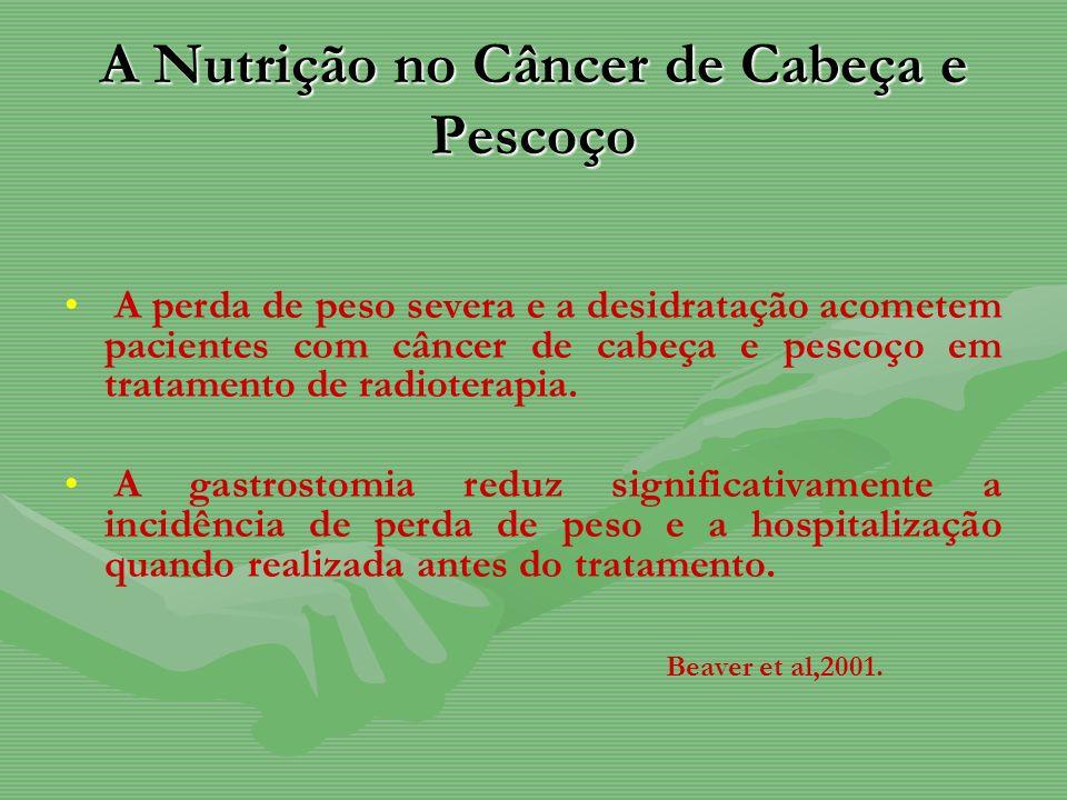A Nutrição no Câncer de Cabeça e Pescoço A perda de peso severa e a desidratação acometem pacientes com câncer de cabeça e pescoço em tratamento de ra