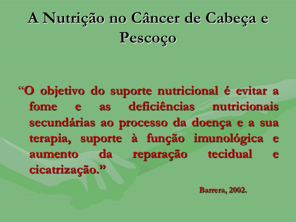 A Nutrição no Câncer de Cabeça e Pescoço O objetivo do suporte nutricional é evitar a fome e as deficiências nutricionais secundárias ao processo da d
