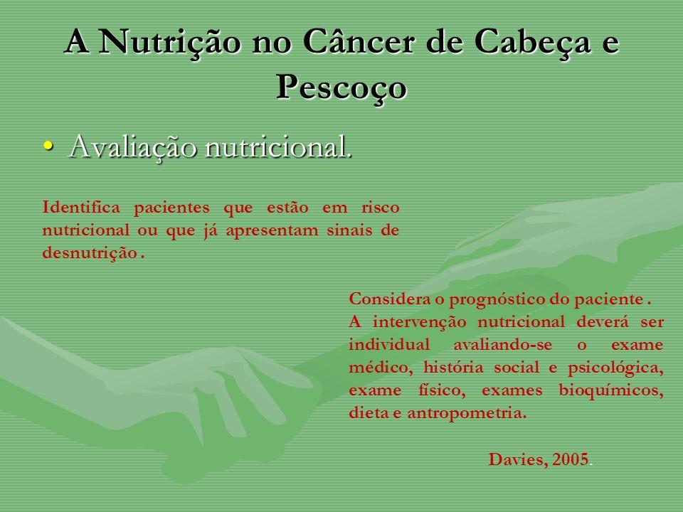 A Nutrição no Câncer de Cabeça e Pescoço Avaliação nutricional.Avaliação nutricional. Identifica pacientes que estão em risco nutricional ou que já ap