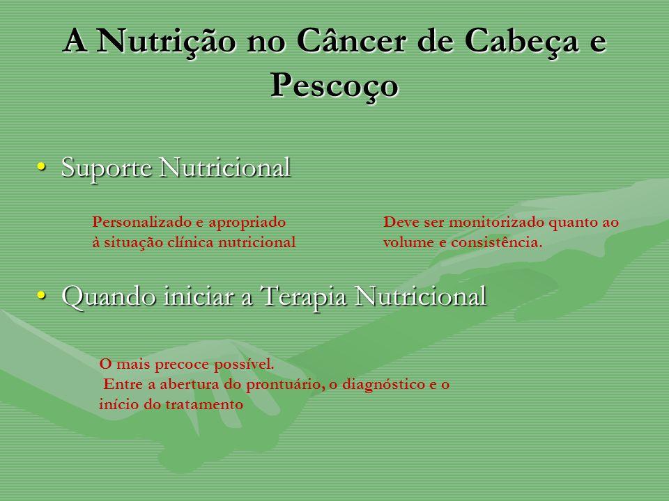 A Nutrição no Câncer de Cabeça e Pescoço Suporte NutricionalSuporte Nutricional Quando iniciar a Terapia NutricionalQuando iniciar a Terapia Nutricion