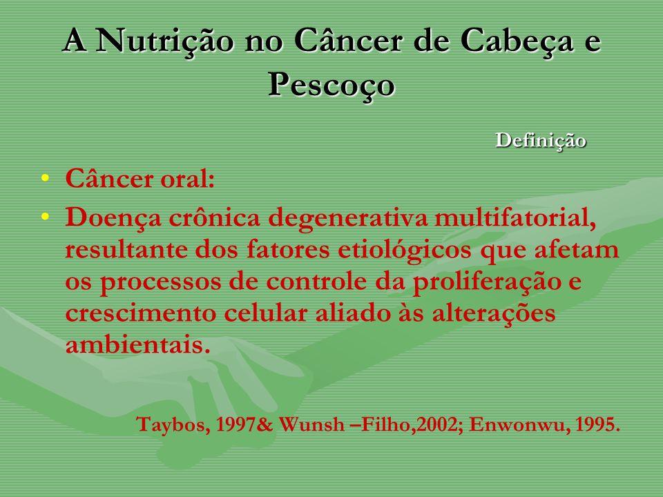 A Nutrição no Câncer de Cabeça e Pescoço Câncer oral: Doença crônica degenerativa multifatorial, resultante dos fatores etiológicos que afetam os proc