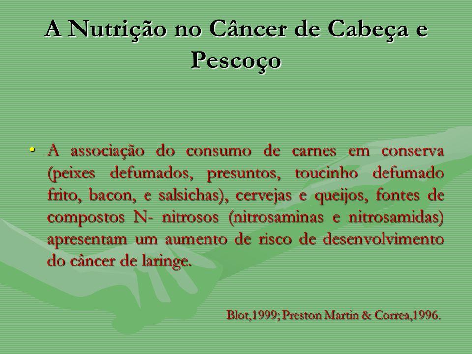 A Nutrição no Câncer de Cabeça e Pescoço A associação do consumo de carnes em conserva (peixes defumados, presuntos, toucinho defumado frito, bacon, e