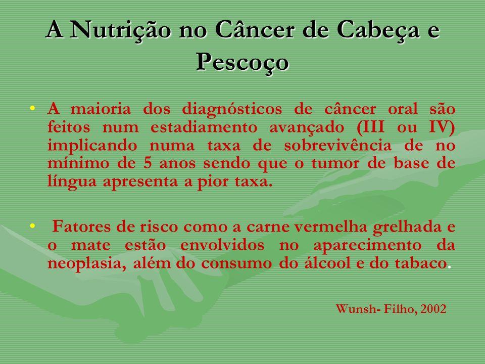 A Nutrição no Câncer de Cabeça e Pescoço A maioria dos diagnósticos de câncer oral são feitos num estadiamento avançado (III ou IV) implicando numa ta