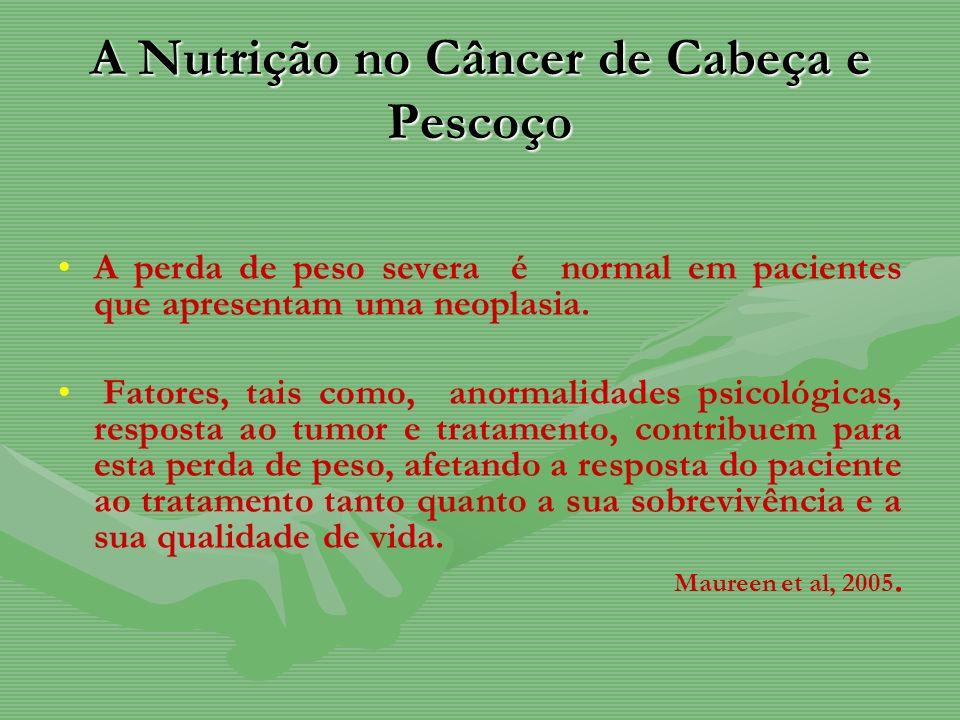 A Nutrição no Câncer de Cabeça e Pescoço A perda de peso severa é normal em pacientes que apresentam uma neoplasia. Fatores, tais como, anormalidades