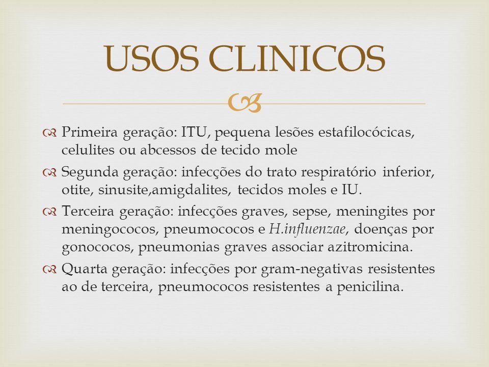 Alergia: mancha macula-papular Gastrointestinal: Diarreia e enterocolite Alterações na coagulação: hipoprotrombinemia Efeitos adversos