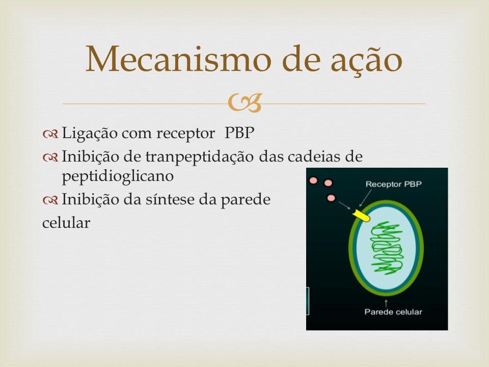Produção de b-lactamase Sítios de ligação modificados-PBP Redução da permeabilidade da membrana externa Bomba de efluxo Mecanismo de resistência