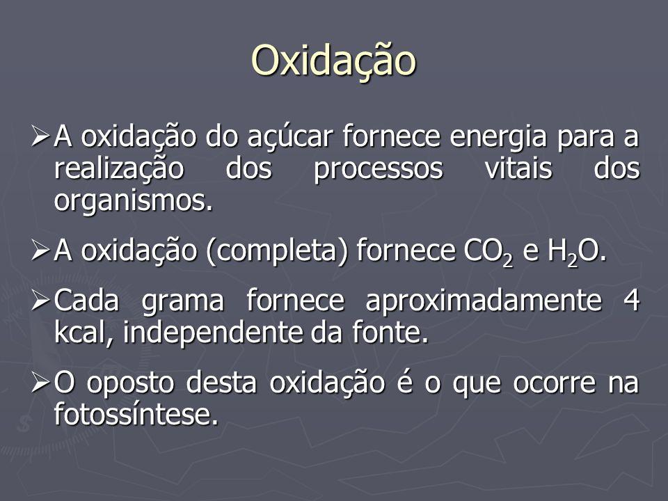 Oxidação A oxidação do açúcar fornece energia para a realização dos processos vitais dos organismos. A oxidação do açúcar fornece energia para a reali
