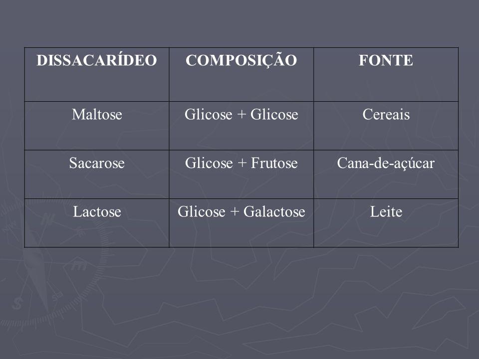 DISSACARÍDEOCOMPOSIÇÃOFONTE MaltoseGlicose + GlicoseCereais SacaroseGlicose + FrutoseCana-de-açúcar LactoseGlicose + GalactoseLeite