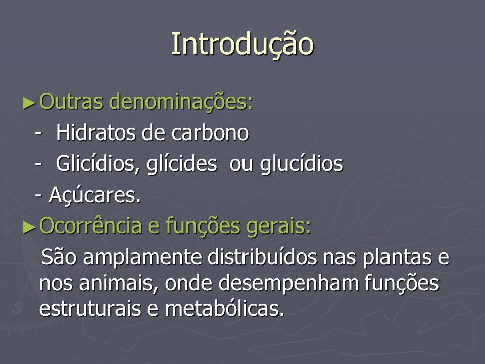Introdução Outras denominações: Outras denominações: - Hidratos de carbono - Hidratos de carbono - Glicídios, glícides ou glucídios - Glicídios, glíci