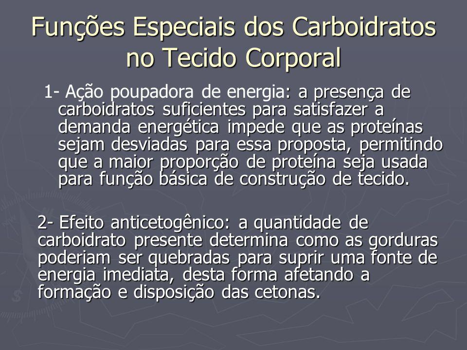 Funções Especiais dos Carboidratos no Tecido Corporal : a presença de carboidratos suficientes para satisfazer a demanda energética impede que as prot