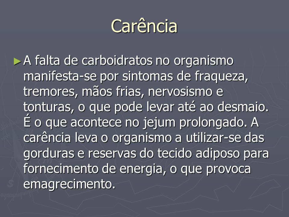 Carência A falta de carboidratos no organismo manifesta-se por sintomas de fraqueza, tremores, mãos frias, nervosismo e tonturas, o que pode levar até