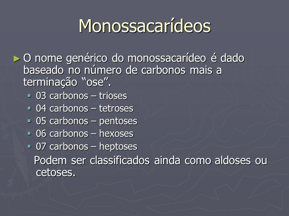 Monossacarídeos O nome genérico do monossacarídeo é dado baseado no número de carbonos mais a terminação ose. O nome genérico do monossacarídeo é dado