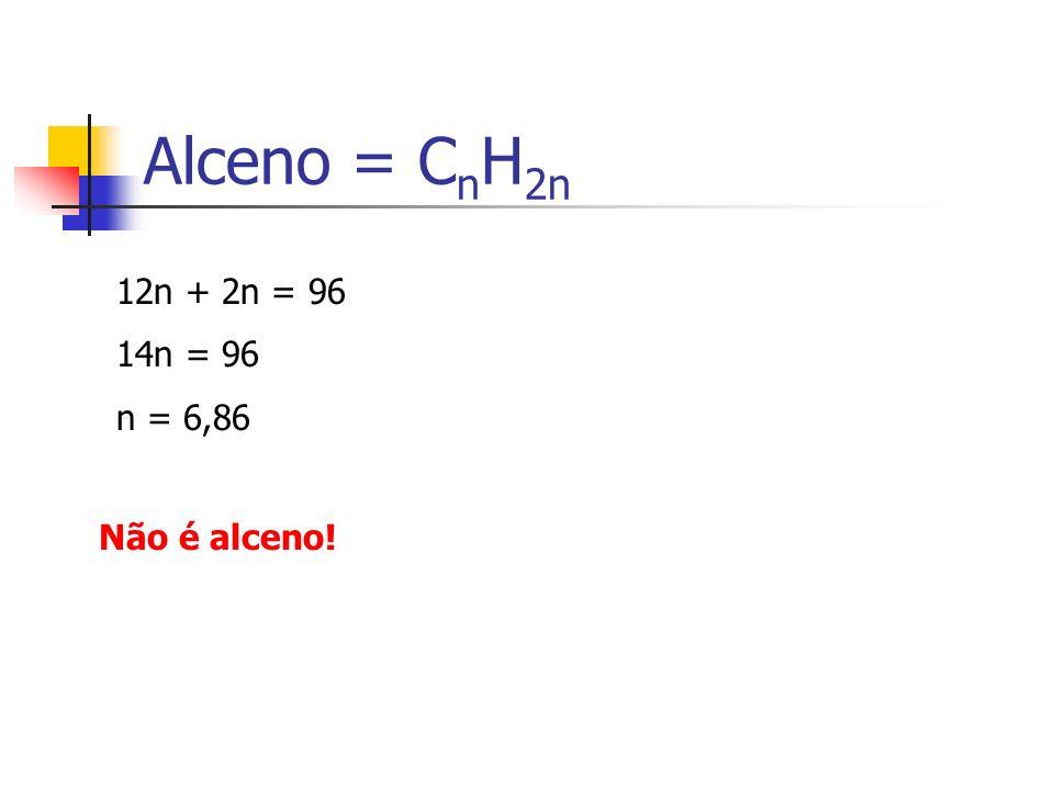Alceno = C n H 2n 12n + 2n = 96 14n = 96 n = 6,86 Não é alceno!