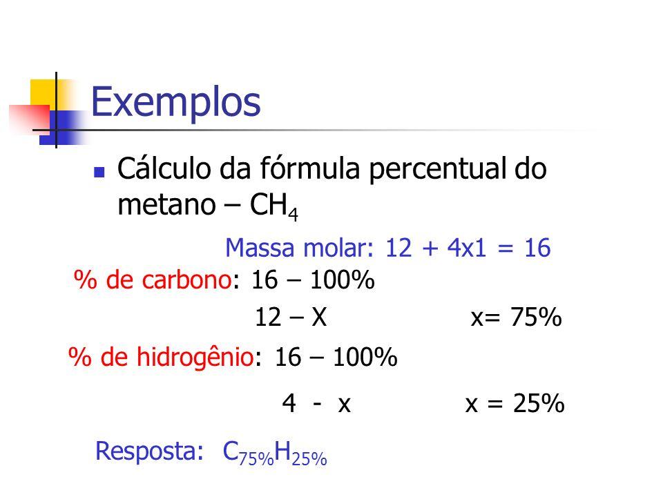 Exemplos Cálculo da fórmula percentual do metano – CH 4 Massa molar: 12 + 4x1 = 16 % de carbono: 16 – 100% 12 – X x= 75% % de hidrogênio: 16 – 100% 4 - xx = 25% Resposta: C 75% H 25%