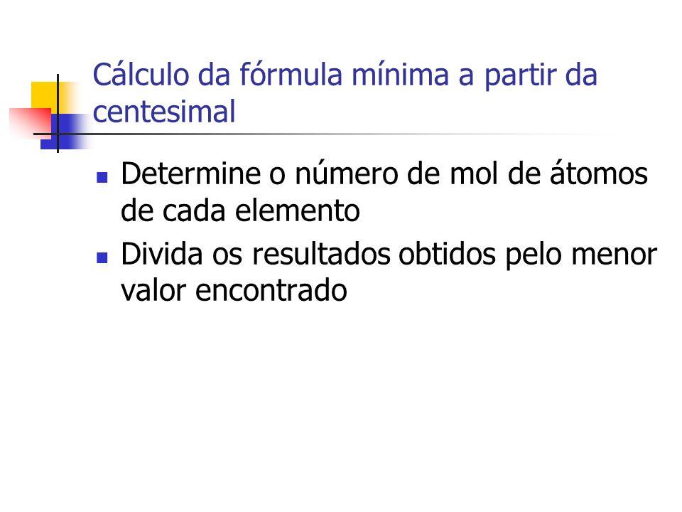Cálculo da fórmula mínima a partir da centesimal Determine o número de mol de átomos de cada elemento Divida os resultados obtidos pelo menor valor encontrado