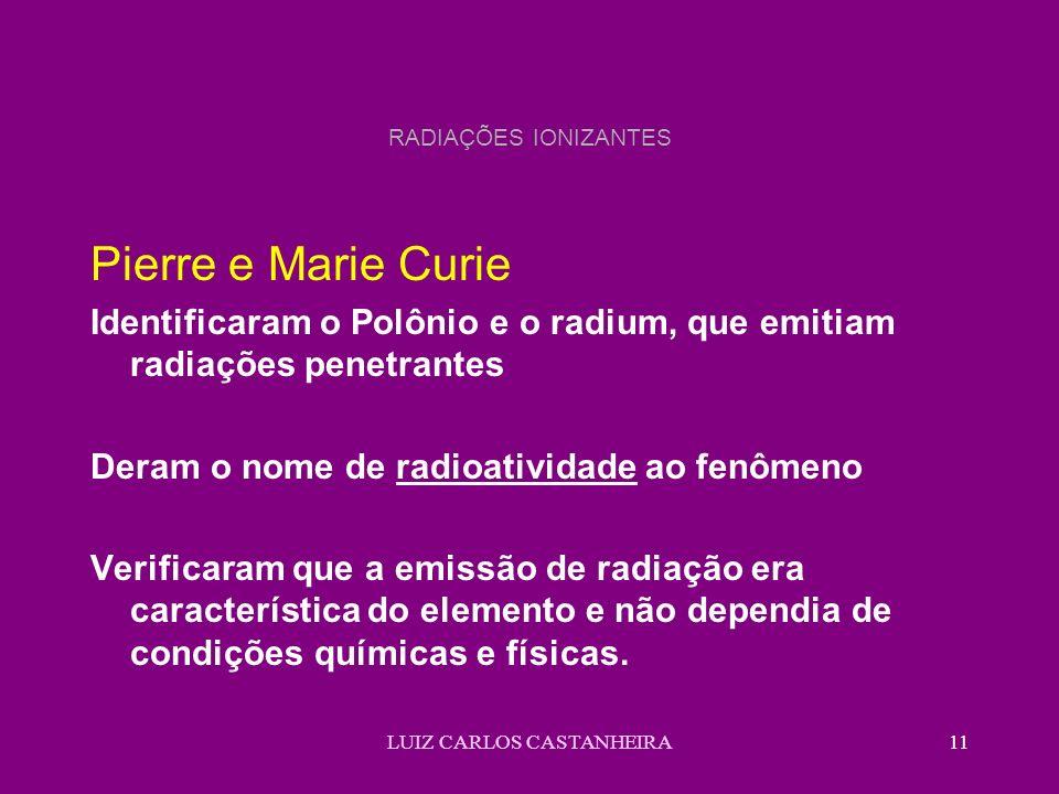 LUIZ CARLOS CASTANHEIRA11 RADIAÇÕES IONIZANTES Pierre e Marie Curie Identificaram o Polônio e o radium, que emitiam radiações penetrantes Deram o nome de radioatividade ao fenômeno Verificaram que a emissão de radiação era característica do elemento e não dependia de condições químicas e físicas.