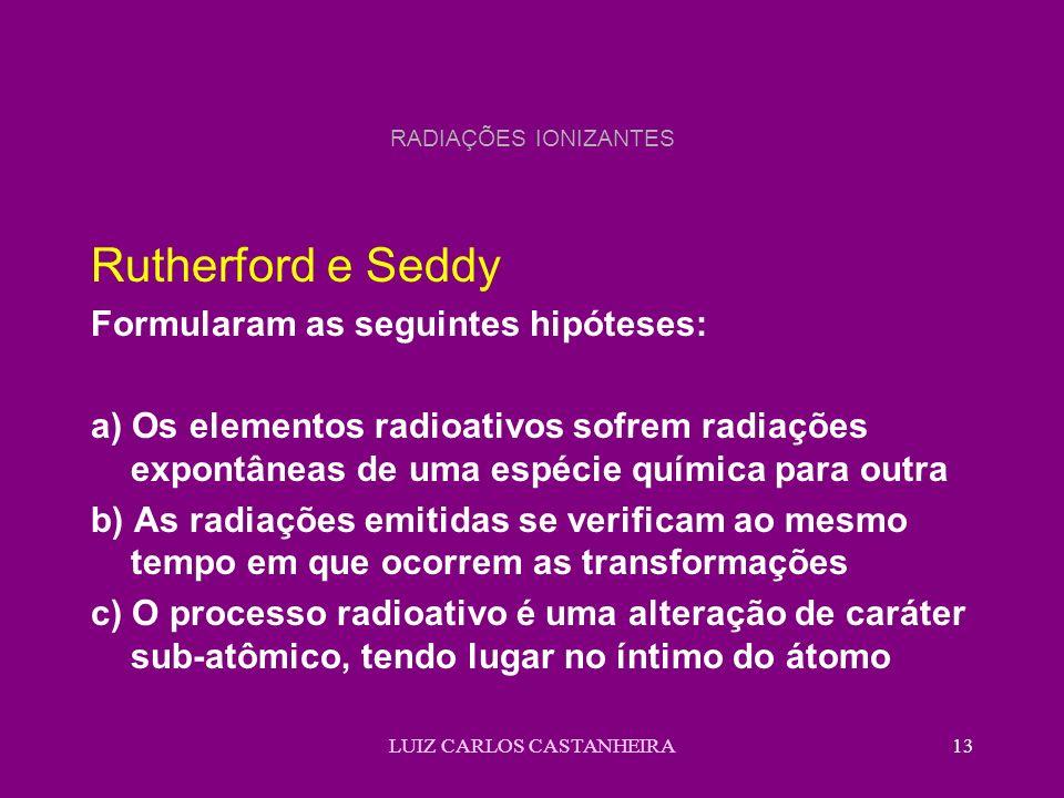 LUIZ CARLOS CASTANHEIRA13 RADIAÇÕES IONIZANTES Rutherford e Seddy Formularam as seguintes hipóteses: a) Os elementos radioativos sofrem radiações expo