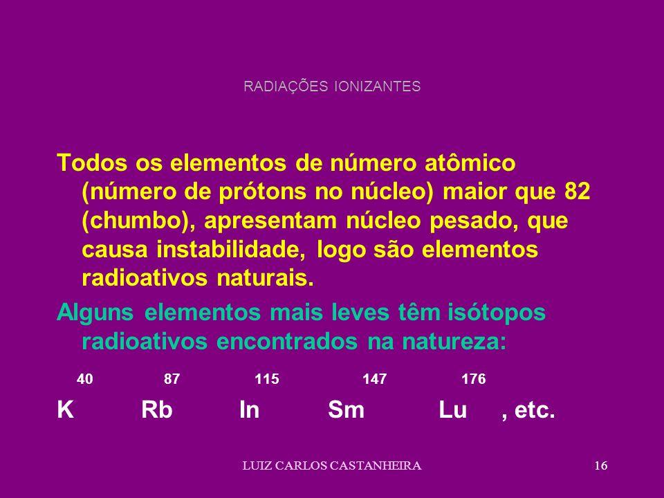 LUIZ CARLOS CASTANHEIRA16 RADIAÇÕES IONIZANTES Todos os elementos de número atômico (número de prótons no núcleo) maior que 82 (chumbo), apresentam nú