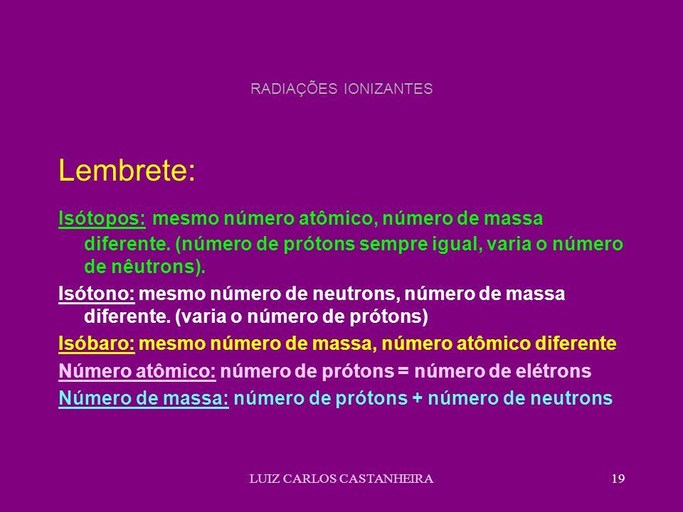 LUIZ CARLOS CASTANHEIRA19 RADIAÇÕES IONIZANTES Lembrete: Isótopos: mesmo número atômico, número de massa diferente. (número de prótons sempre igual, v