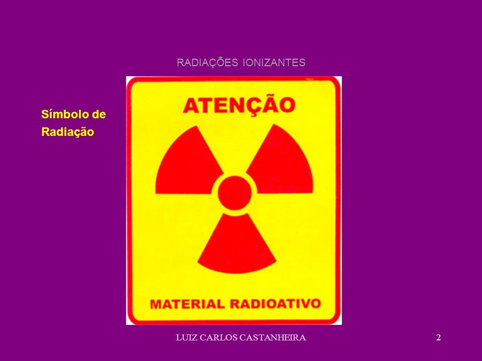 LUIZ CARLOS CASTANHEIRA13 RADIAÇÕES IONIZANTES Rutherford e Seddy Formularam as seguintes hipóteses: a) Os elementos radioativos sofrem radiações expontâneas de uma espécie química para outra b) As radiações emitidas se verificam ao mesmo tempo em que ocorrem as transformações c) O processo radioativo é uma alteração de caráter sub-atômico, tendo lugar no íntimo do átomo