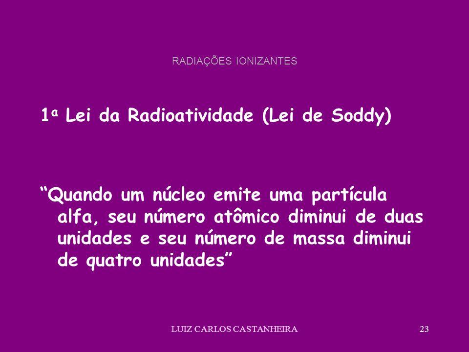 LUIZ CARLOS CASTANHEIRA23 RADIAÇÕES IONIZANTES 1 a Lei da Radioatividade (Lei de Soddy) Quando um núcleo emite uma partícula alfa, seu número atômico diminui de duas unidades e seu número de massa diminui de quatro unidades