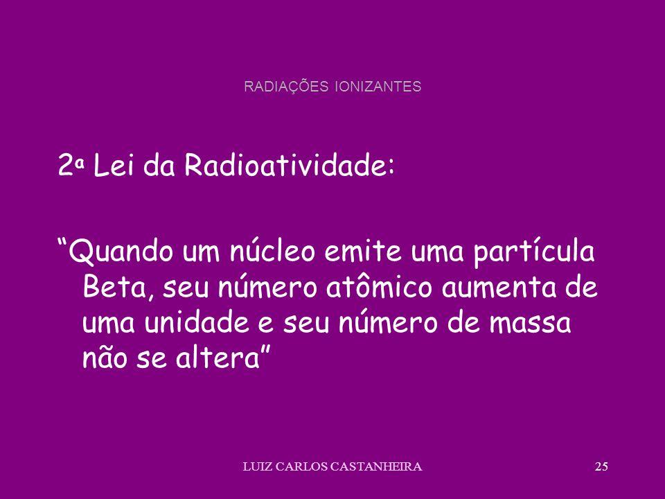 LUIZ CARLOS CASTANHEIRA25 RADIAÇÕES IONIZANTES 2 a Lei da Radioatividade: Quando um núcleo emite uma partícula Beta, seu número atômico aumenta de uma