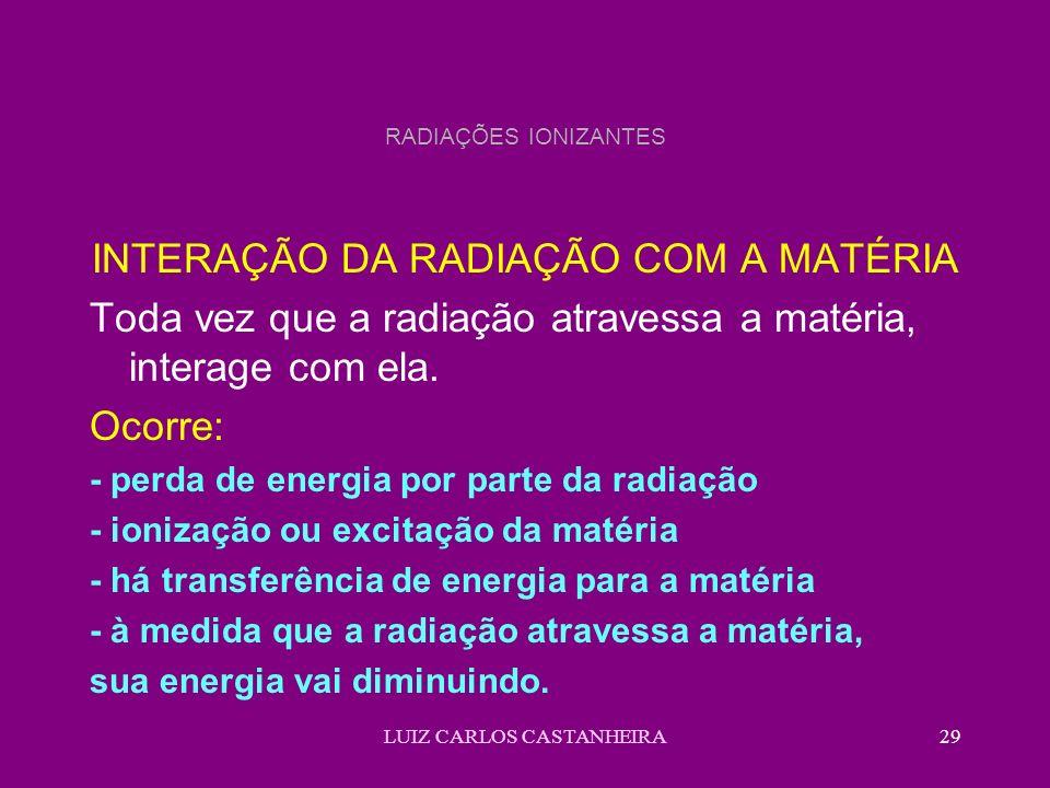LUIZ CARLOS CASTANHEIRA29 RADIAÇÕES IONIZANTES INTERAÇÃO DA RADIAÇÃO COM A MATÉRIA Toda vez que a radiação atravessa a matéria, interage com ela. Ocor