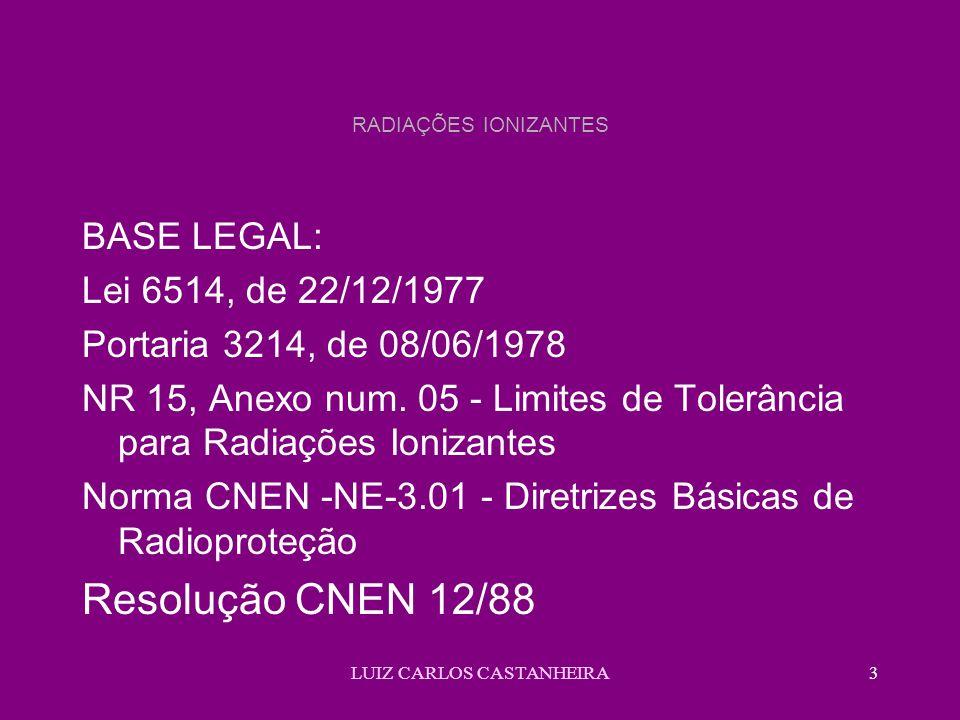 LUIZ CARLOS CASTANHEIRA3 RADIAÇÕES IONIZANTES BASE LEGAL: Lei 6514, de 22/12/1977 Portaria 3214, de 08/06/1978 NR 15, Anexo num. 05 - Limites de Toler