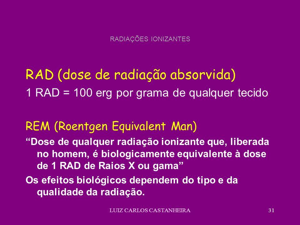 LUIZ CARLOS CASTANHEIRA31 RADIAÇÕES IONIZANTES RAD (dose de radiação absorvida) 1 RAD = 100 erg por grama de qualquer tecido REM (Roentgen Equivalent Man) Dose de qualquer radiação ionizante que, liberada no homem, é biologicamente equivalente à dose de 1 RAD de Raios X ou gama Os efeitos biológicos dependem do tipo e da qualidade da radiação.