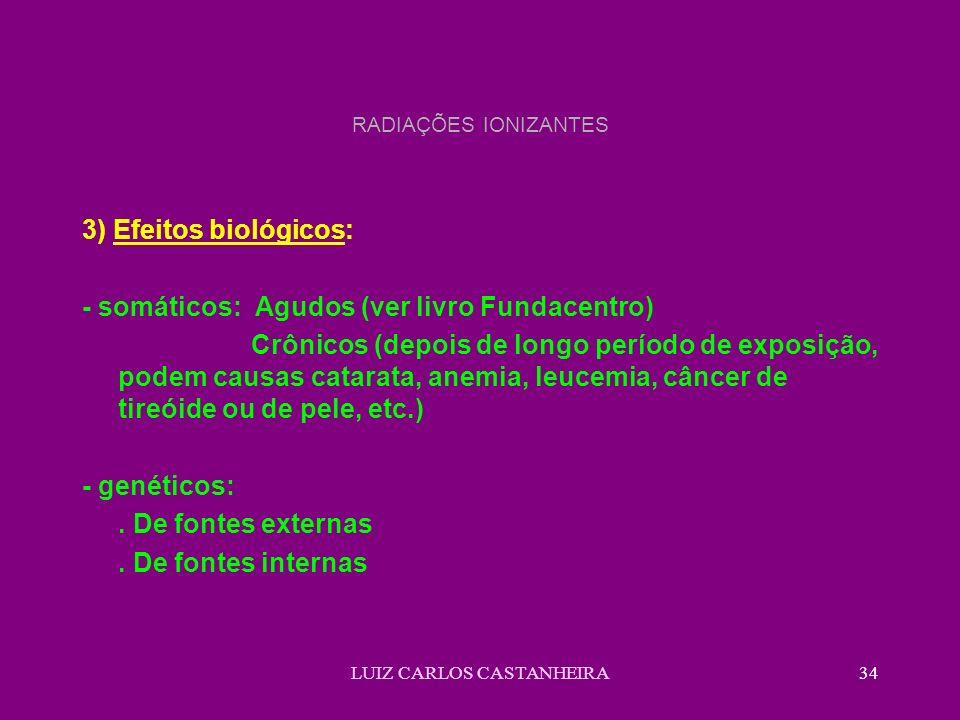 LUIZ CARLOS CASTANHEIRA34 RADIAÇÕES IONIZANTES 3) Efeitos biológicos: - somáticos: Agudos (ver livro Fundacentro) Crônicos (depois de longo período de exposição, podem causas catarata, anemia, leucemia, câncer de tireóide ou de pele, etc.) - genéticos:.