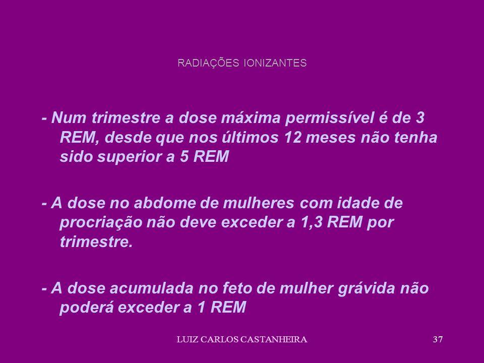 LUIZ CARLOS CASTANHEIRA37 RADIAÇÕES IONIZANTES - Num trimestre a dose máxima permissível é de 3 REM, desde que nos últimos 12 meses não tenha sido superior a 5 REM - A dose no abdome de mulheres com idade de procriação não deve exceder a 1,3 REM por trimestre.