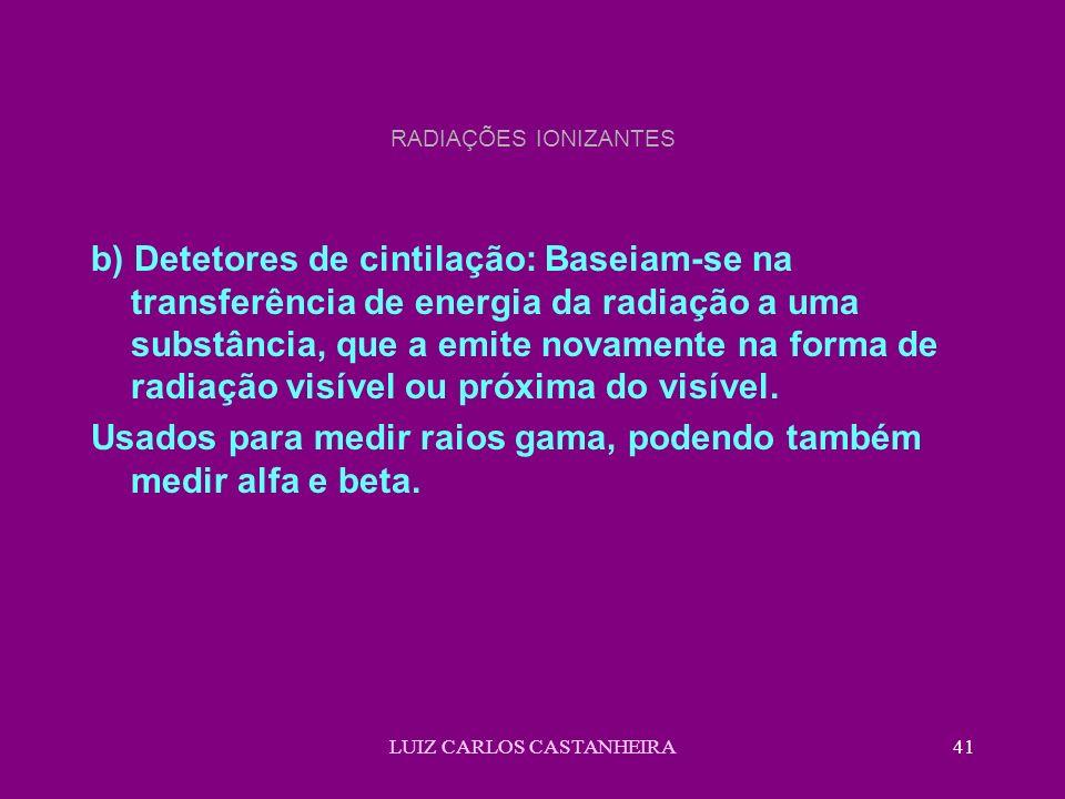 LUIZ CARLOS CASTANHEIRA41 RADIAÇÕES IONIZANTES b) Detetores de cintilação: Baseiam-se na transferência de energia da radiação a uma substância, que a emite novamente na forma de radiação visível ou próxima do visível.