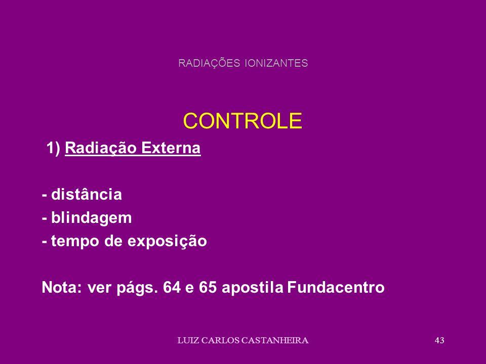 LUIZ CARLOS CASTANHEIRA43 RADIAÇÕES IONIZANTES CONTROLE 1) Radiação Externa - distância - blindagem - tempo de exposição Nota: ver págs. 64 e 65 apost