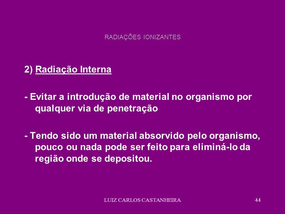 LUIZ CARLOS CASTANHEIRA44 RADIAÇÕES IONIZANTES 2) Radiação Interna - Evitar a introdução de material no organismo por qualquer via de penetração - Ten