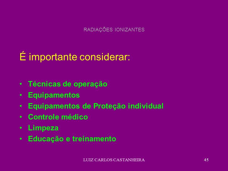 LUIZ CARLOS CASTANHEIRA45 RADIAÇÕES IONIZANTES É importante considerar: Técnicas de operação Equipamentos Equipamentos de Proteção individual Controle médico Limpeza Educação e treinamento