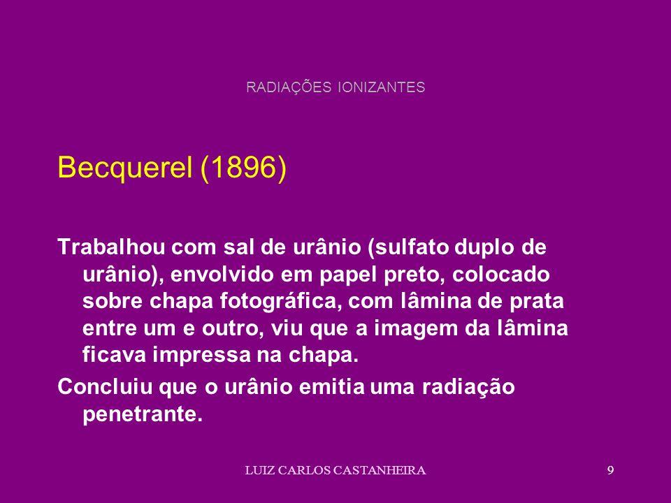LUIZ CARLOS CASTANHEIRA9 RADIAÇÕES IONIZANTES Becquerel (1896) Trabalhou com sal de urânio (sulfato duplo de urânio), envolvido em papel preto, colocado sobre chapa fotográfica, com lâmina de prata entre um e outro, viu que a imagem da lâmina ficava impressa na chapa.