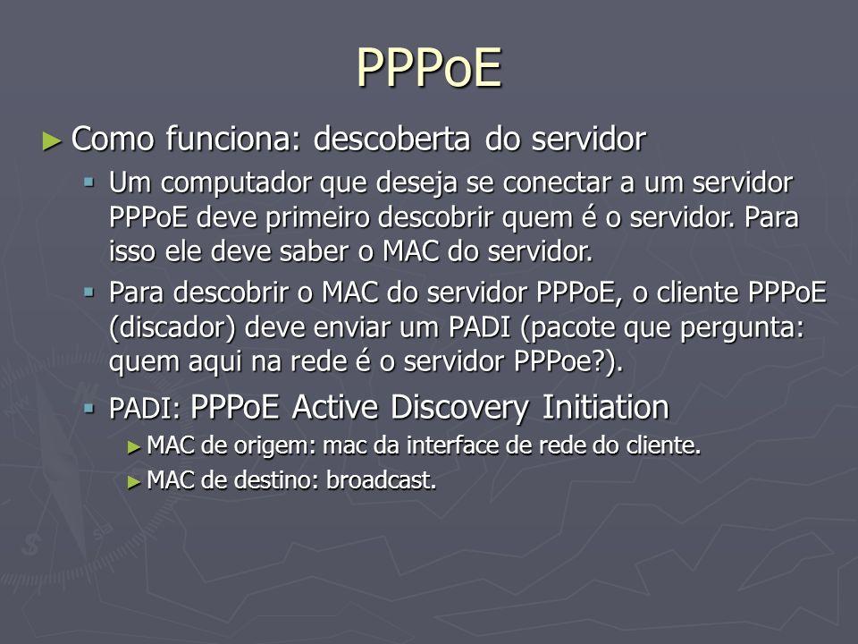 PPPoE Como funciona: descoberta do servidor Como funciona: descoberta do servidor Um computador que deseja se conectar a um servidor PPPoE deve primei