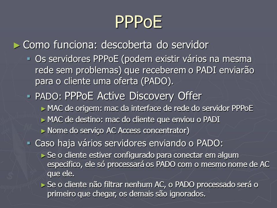 PPPoE Como funciona: descoberta do servidor Como funciona: descoberta do servidor Os servidores PPPoE (podem existir vários na mesma rede sem problema