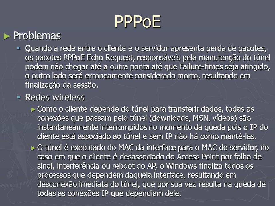 PPPoE Problemas Problemas Quando a rede entre o cliente e o servidor apresenta perda de pacotes, os pacotes PPPoE Echo Request, responsáveis pela manu