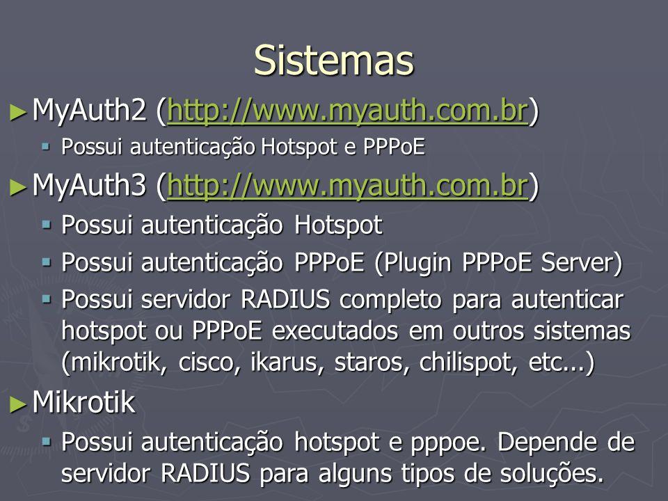 Sistemas MyAuth2 (http://www.myauth.com.br) MyAuth2 (http://www.myauth.com.br)http://www.myauth.com.br Possui autenticação Hotspot e PPPoE Possui aute