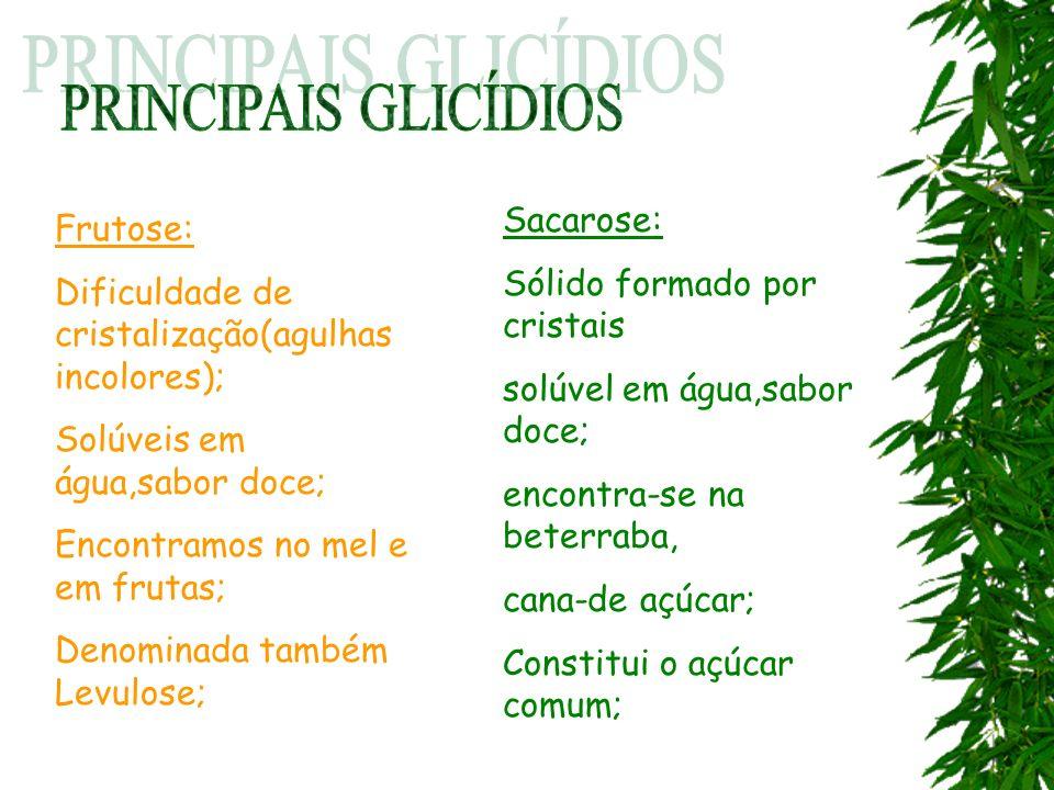 Frutose: Dificuldade de cristalização(agulhas incolores); Solúveis em água,sabor doce; Encontramos no mel e em frutas; Denominada também Levulose; Sac
