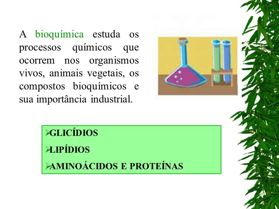 A bioquímica estuda os processos químicos que ocorrem nos organismos vivos, animais vegetais, os compostos bioquímicos e sua importância industrial. G