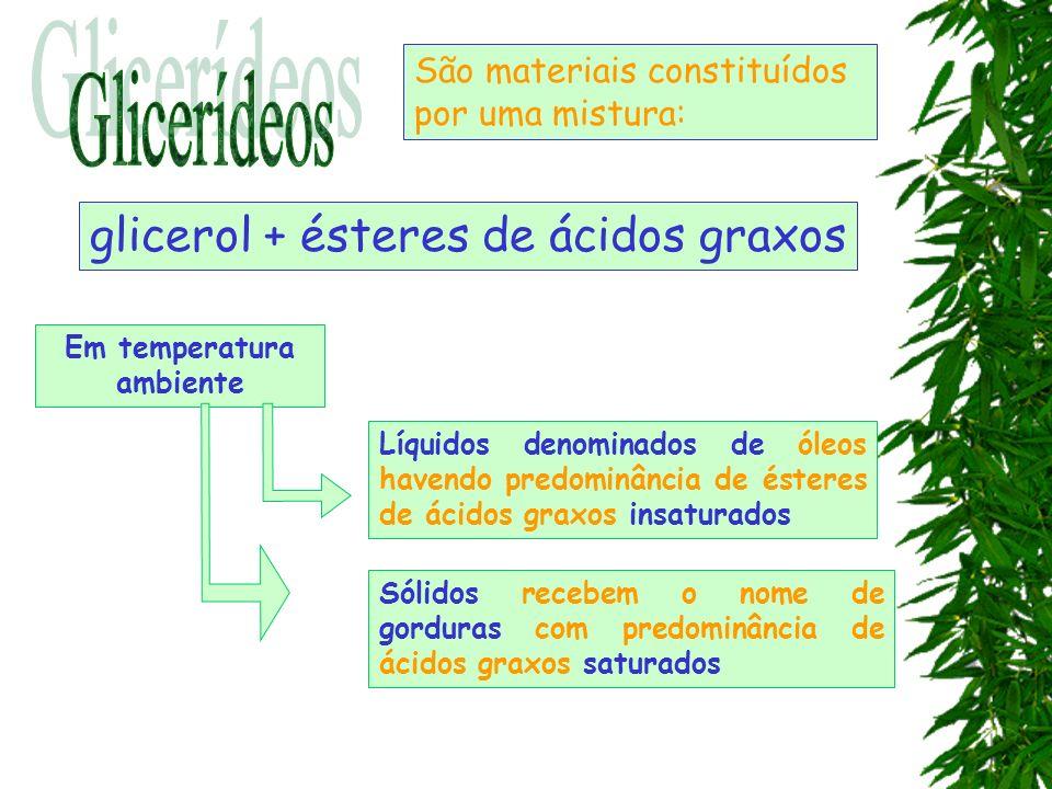 Sólidos recebem o nome de gorduras com predominância de ácidos graxos saturados São materiais constituídos por uma mistura: Líquidos denominados de ól